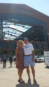 Mom and Steve in front of Lucas Oil Stadium. It was a beautiful day so the roof was OPEN!
